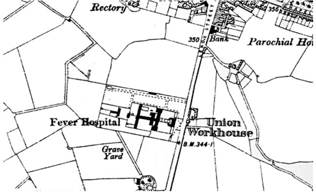 Ordinance Survey map of Oldcastle workhouse site